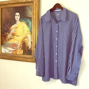 Foxcroft Striped Blue & White Shirt 22W
